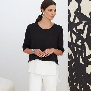 NWT Chico's layered mock blouse -sz00, black label